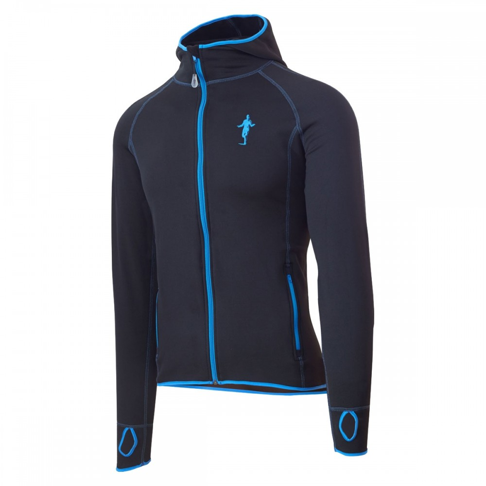 Fleece Hoodie Black/Blue-M-XL